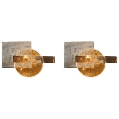 Pair of Modernist Fume and Golden Murano Glass Wall Sconces