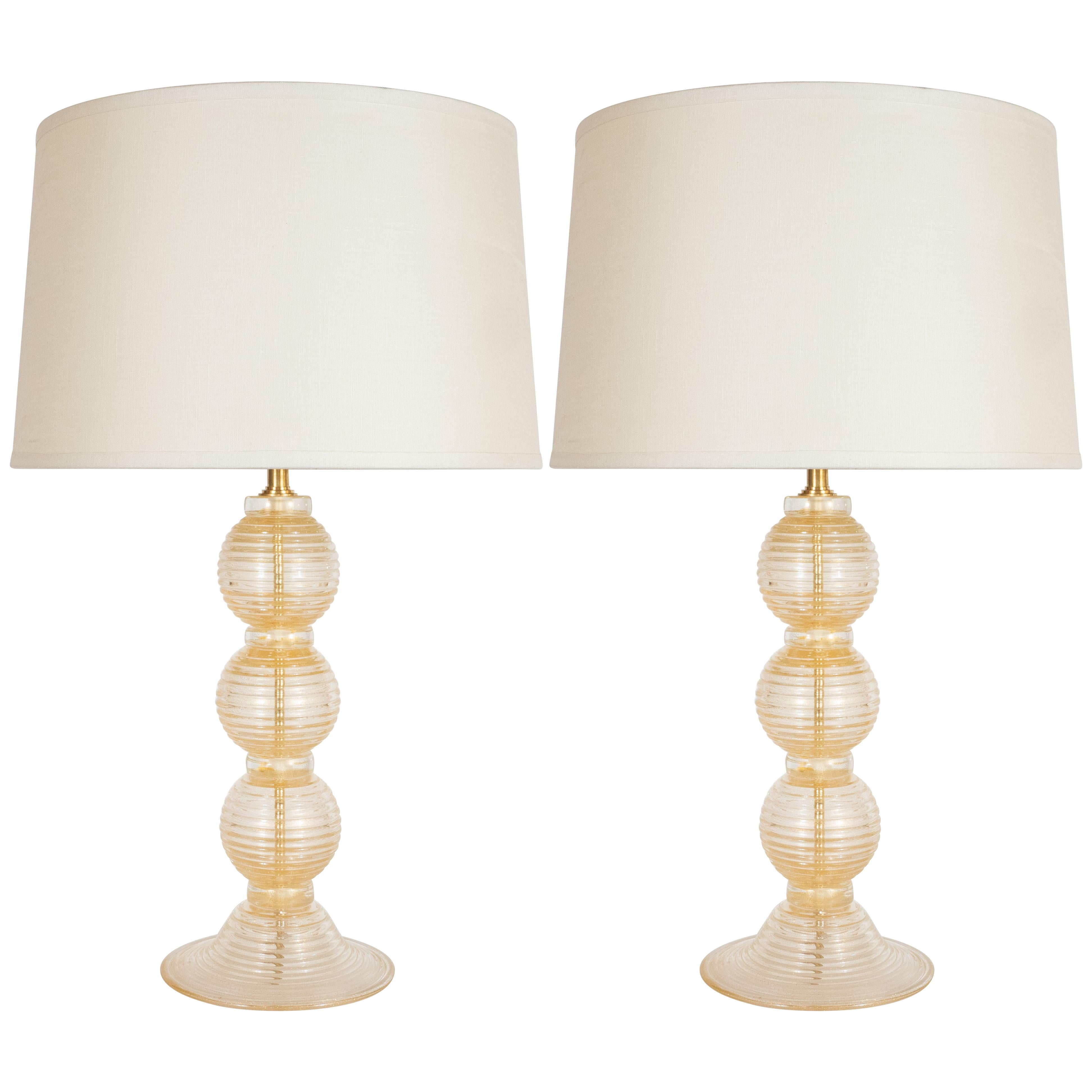 Pair of Modernist Hand Blown Murano Clear Glass Table Lamps