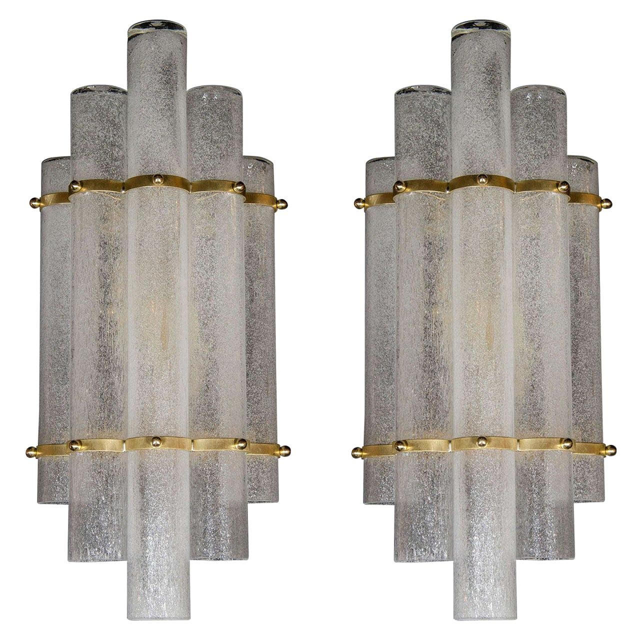 """Pair of Modernist Hand Blown Murano Glass """"Pulegoso"""" Sconces with Brass Fittings"""