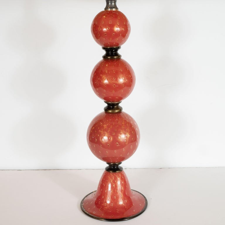 Italian Pair of Modernist Hand Blown Vermilion Murano Glass Banded Spherical Table Lamps For Sale