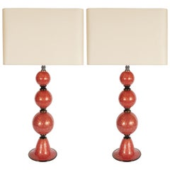 Pair of Modernist Hand Blown Vermilion Murano Glass Banded Spherical Table Lamps
