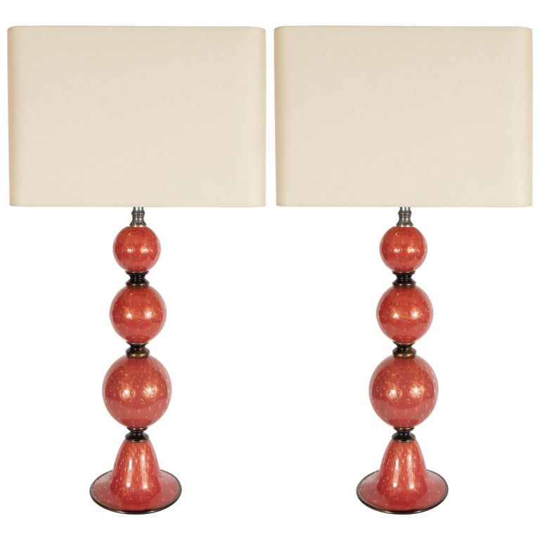 Pair of Modernist Hand Blown Vermilion Murano Glass Banded Spherical Table Lamps For Sale