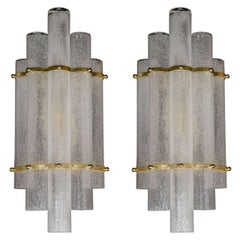 "Pair of Modernist Hand Blown Murano Glass ""Pulegoso"" Sconces with Brass Fittings"