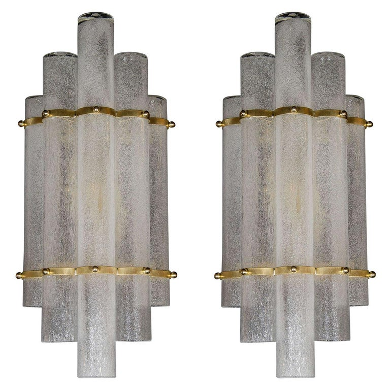 """Pair of Modernist Hand Blown Murano Glass """"Pulegoso"""" Sconces with Brass Fittings For Sale"""