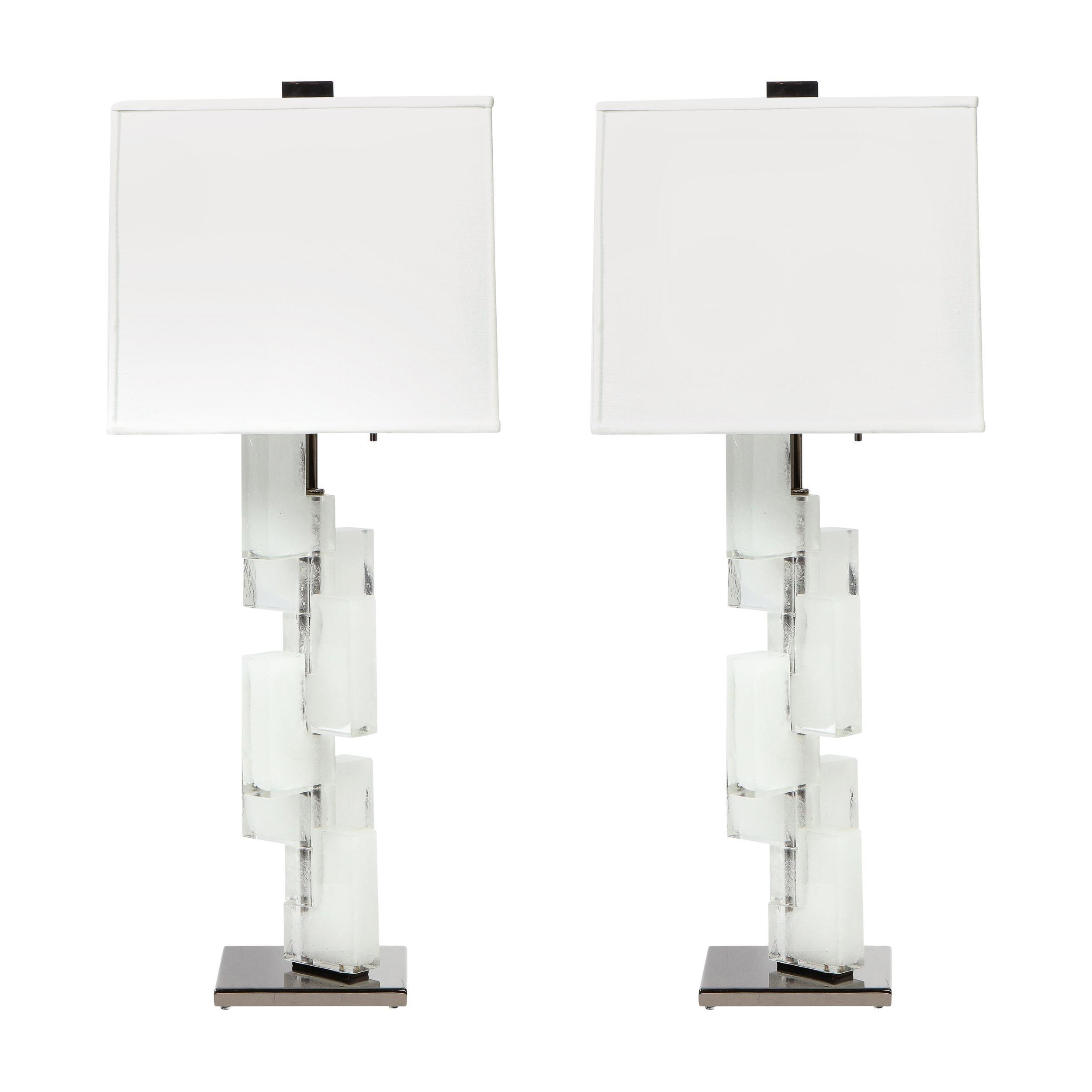 Pair of Modernist Handblown Murano Ice Glass Table Lamps w/ Gunmetal Fittings