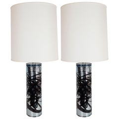 Pair of Modernist Handblown Murano Mercury Glass Table Lamps Organic Detailing