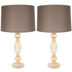 Pair of Modernist Handblown Murano Ribbed 24-Karat Gold Table Lamps