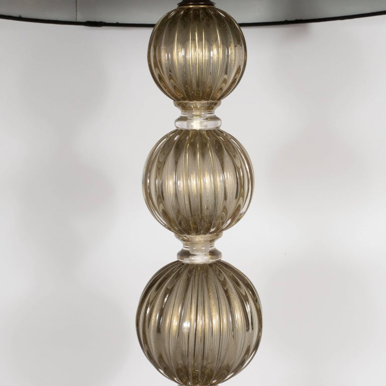 Italian Pair of Modernist Hand Blown Murano Smoked Glass Table Lamps, 24kt Gold Flecks For Sale