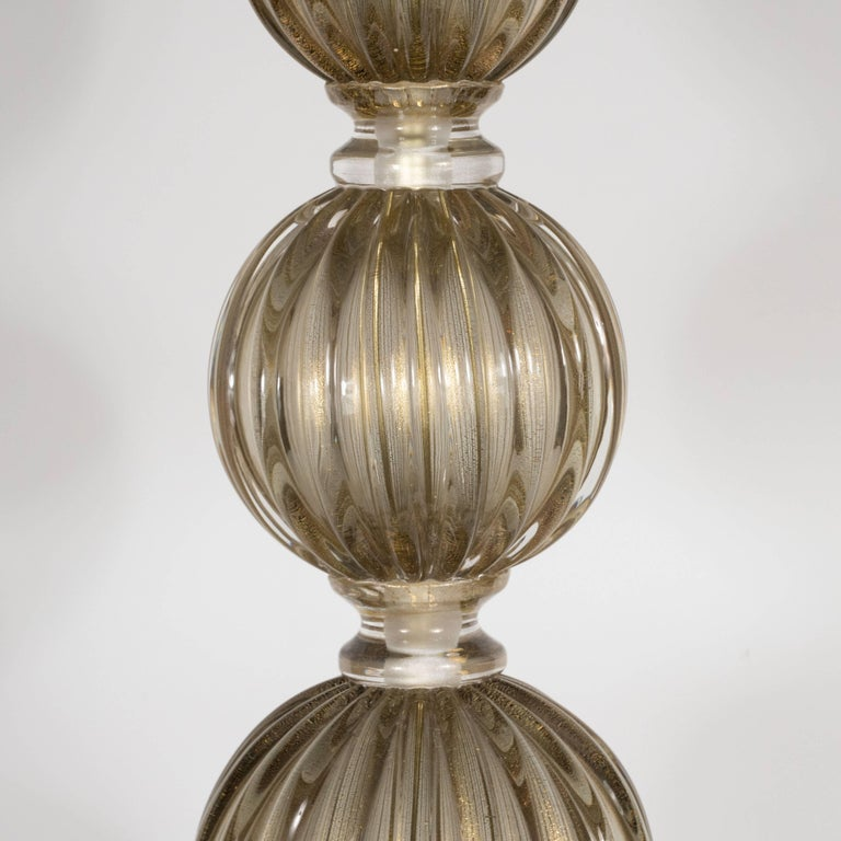 Pair of Modernist Hand Blown Murano Smoked Glass Table Lamps, 24kt Gold Flecks In Excellent Condition For Sale In New York, NY