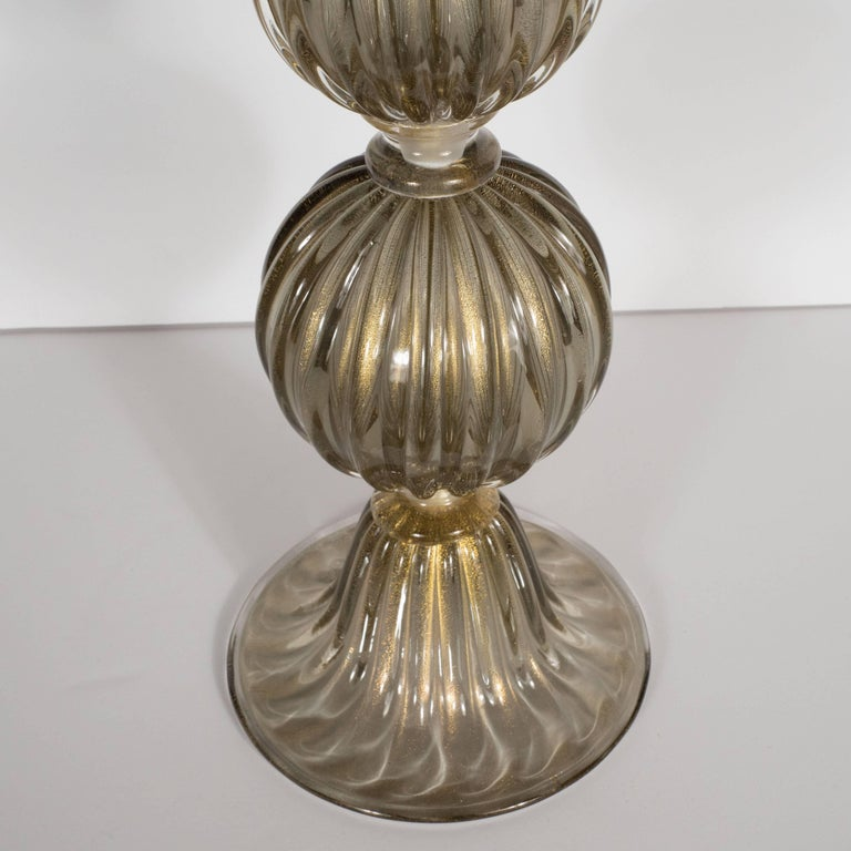 Contemporary Pair of Modernist Hand Blown Murano Smoked Glass Table Lamps, 24kt Gold Flecks For Sale