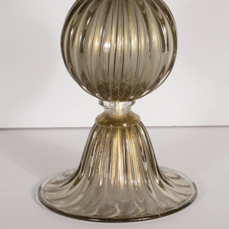 Brass Pair of Modernist Hand Blown Murano Smoked Glass Table Lamps, 24kt Gold Flecks For Sale