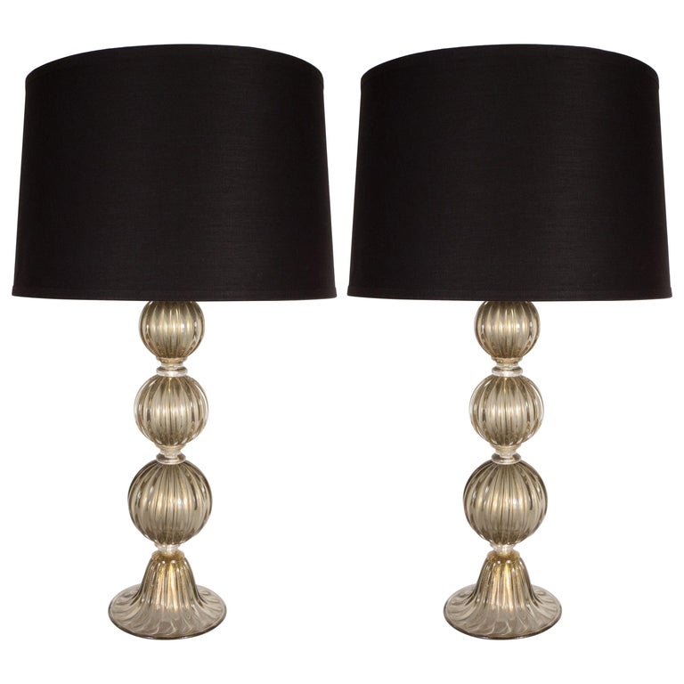Pair of Modernist Hand Blown Murano Smoked Glass Table Lamps, 24kt Gold Flecks For Sale