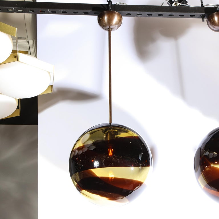 Italian Pair of Modernist Handblown Murano Smoked Pendants w/ Oil Rubbed Bronze Fittings For Sale