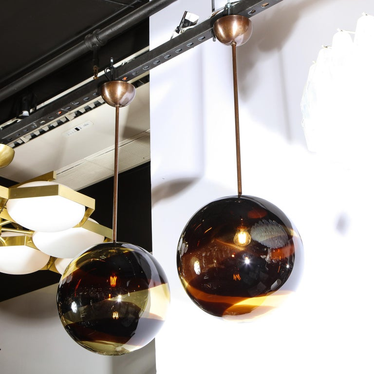 Pair of Modernist Handblown Murano Smoked Pendants w/ Oil Rubbed Bronze Fittings In New Condition For Sale In New York, NY