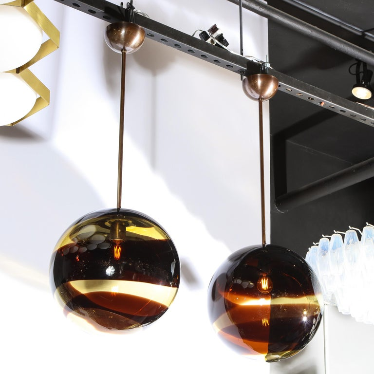 Contemporary Pair of Modernist Handblown Murano Smoked Pendants w/ Oil Rubbed Bronze Fittings For Sale