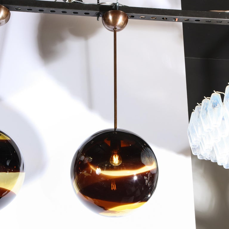 Pair of Modernist Handblown Murano Smoked Pendants w/ Oil Rubbed Bronze Fittings For Sale 3