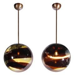 Pair of Modernist Handblown Murano Smoked Pendants w/ Oil Rubbed Bronze Fittings