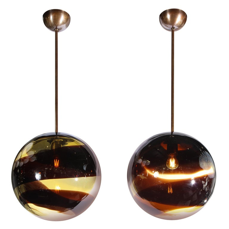 Pair of Modernist Handblown Murano Smoked Pendants w/ Oil Rubbed Bronze Fittings For Sale