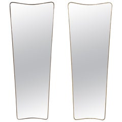 Pair of Modernist Italian Brass Large Scale Mirrors