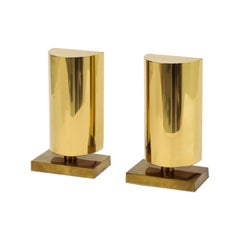 Pair of Modernist Lacquered Brass Table Sconces with Demilune Shades