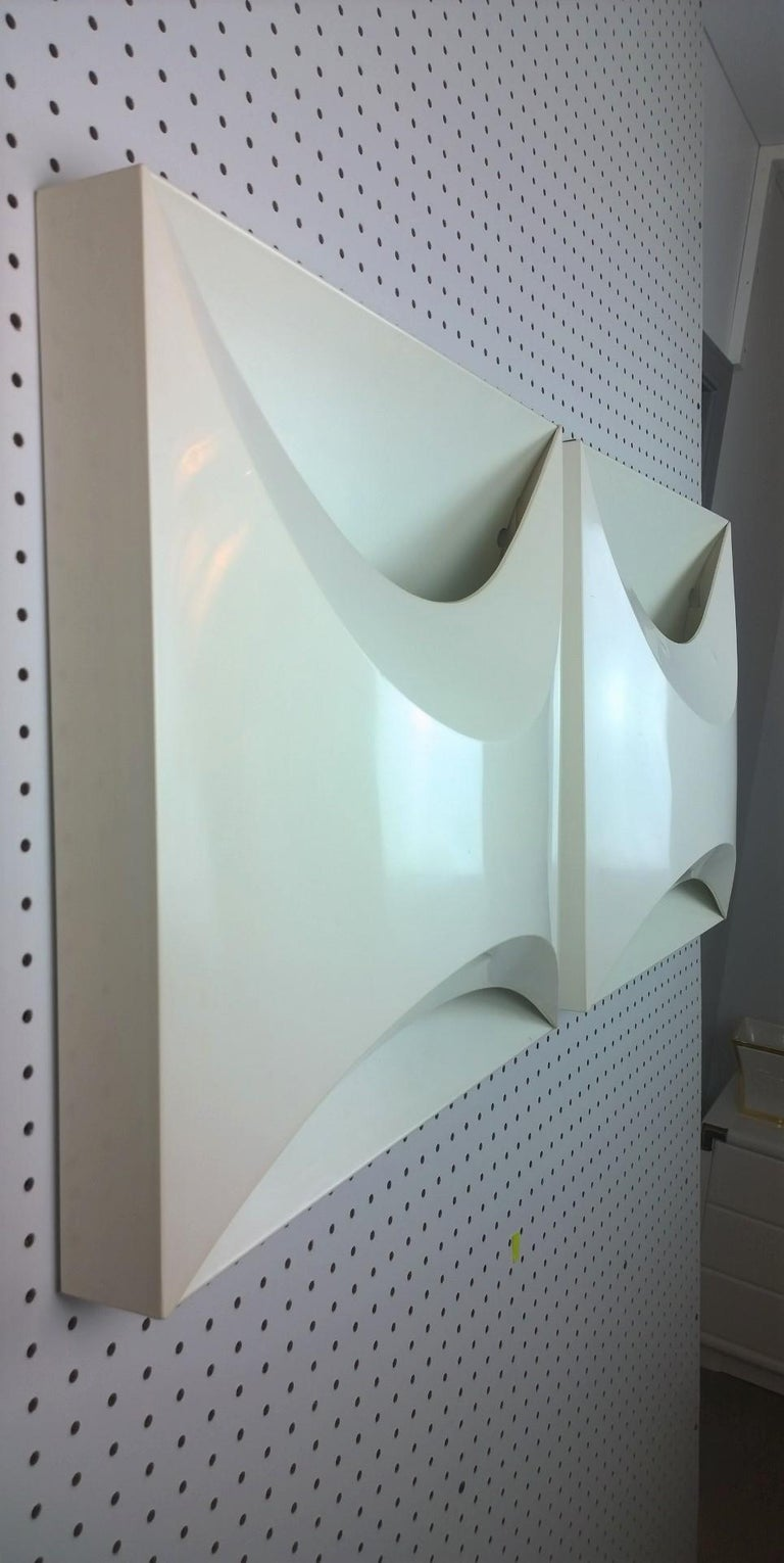 Pair of Modernist Square RAAK Amsterdam White Sconces / Flushmount Lighting In Good Condition For Sale In Houston, TX