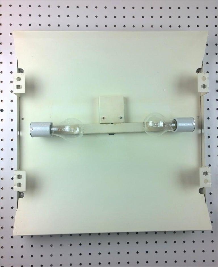 Metal Pair of Modernist Square RAAK Amsterdam White Sconces / Flushmount Lighting For Sale