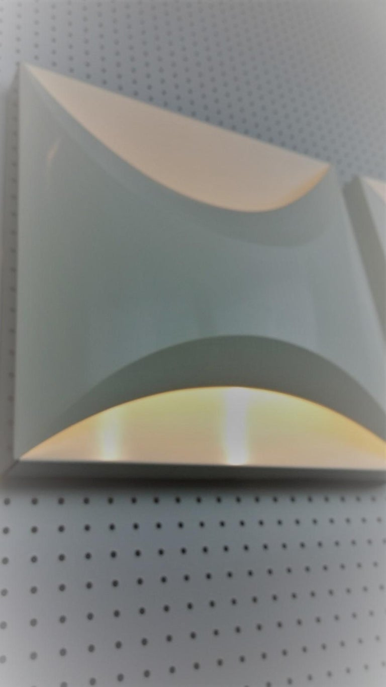 Pair of Modernist Square RAAK Amsterdam White Sconces / Flushmount Lighting For Sale 6