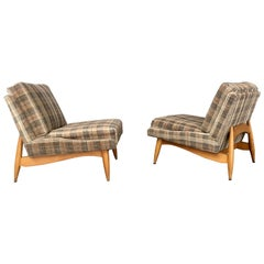 Pair of Modernist Lounge Slipper Chairs, Sculptural Wood Bases