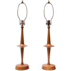 Pair of Modernist Maple Table Lamps by Yasha Heifetz