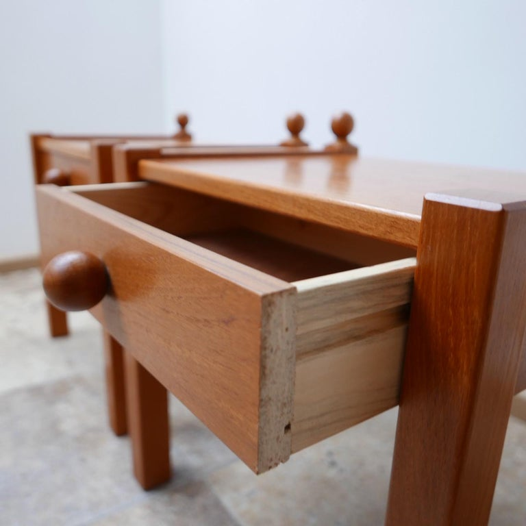 Stained Pair of Modernist Midcentury Bedside Tables or Side Tables For Sale