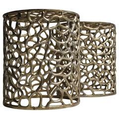 Pair of Modernist Mid-Century Modern Cast Aluminum Sculptural Garden Stools