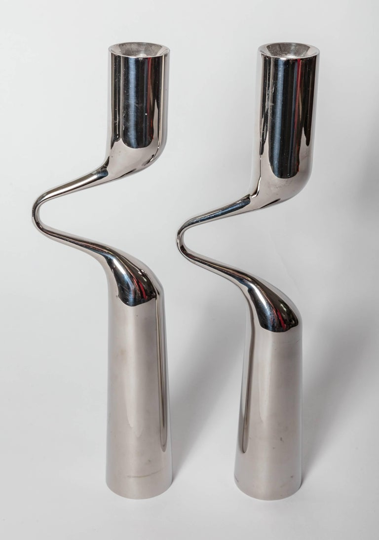 Steel Pair of Modernist Mikaela Dorfel Candle holders. Offered by Funky Finders For Sale