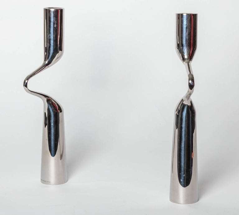 Pair of Modernist Mikaela Dorfel Candle holders. Offered by Funky Finders For Sale 1