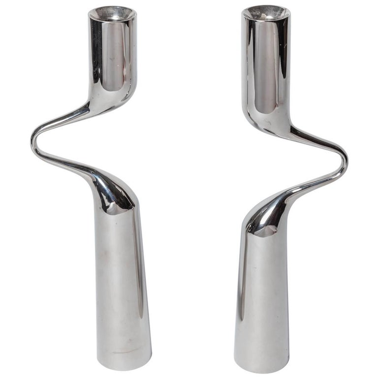 Pair of Modernist Mikaela Dorfel Candle holders. Offered by Funky Finders For Sale