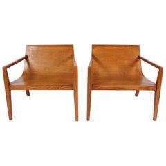 Pair of Modernist Oak Armchairs