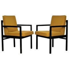 Pair of Modernist Oak Armchairs in Original Blackened Finish