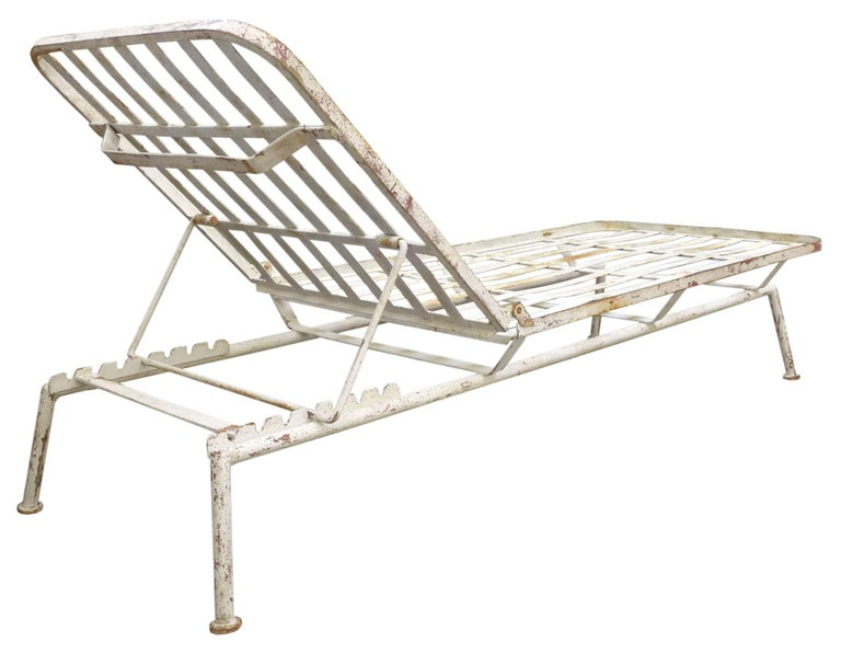 Painted Pair of Modernist Outdoor Chaise Lounges For Sale