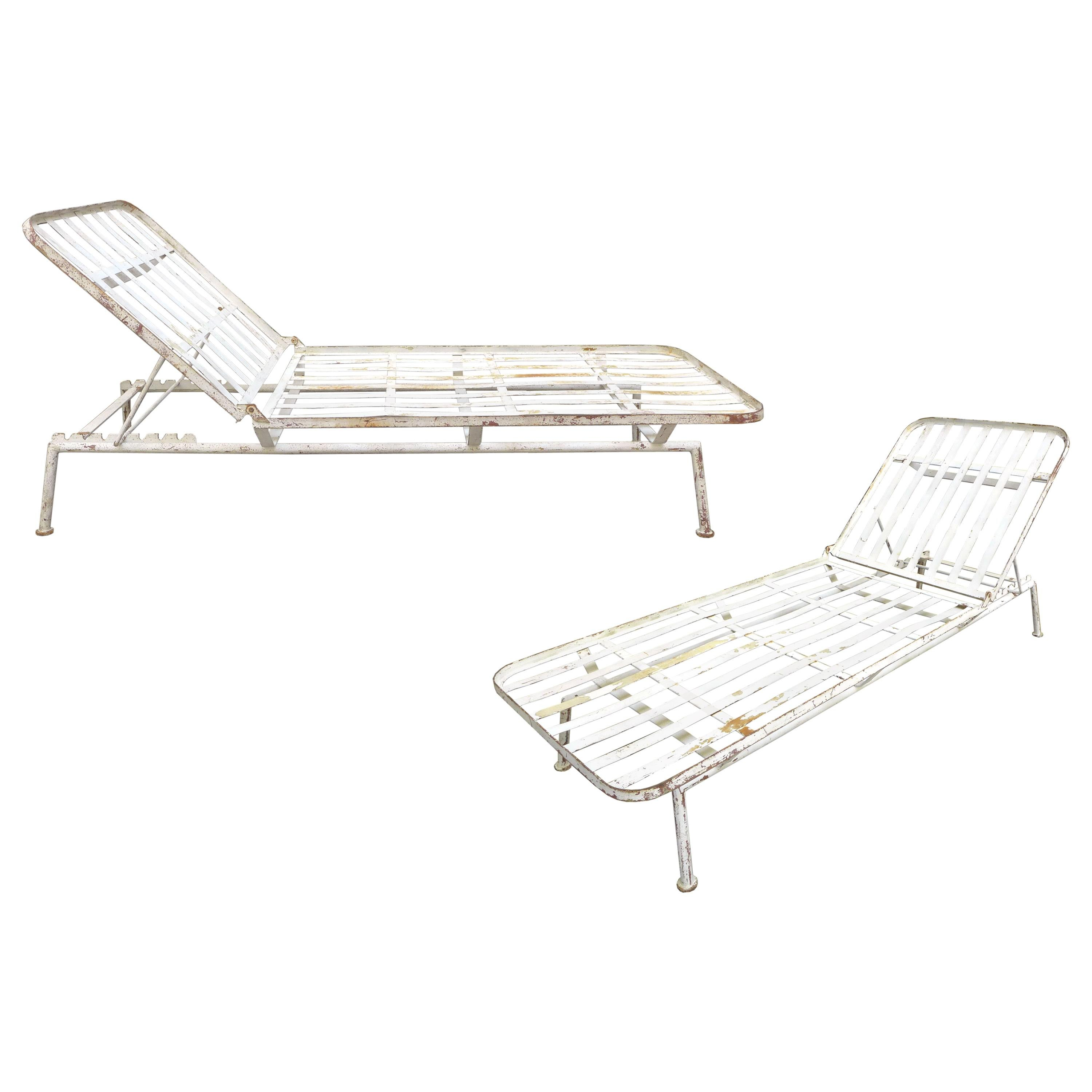 Pair of Modernist Outdoor Chaise Lounges