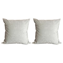 Pair of Modernist Pillows in Striated Sea Foam Velvet