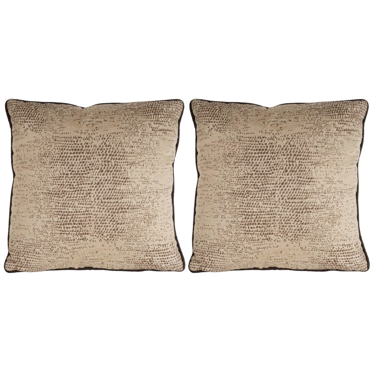 Pair of Modernist Pillows with Dark Chocolate Piping and Stylized Lizard Print
