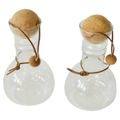 Pair of Modernist Pyrex Glass Decanters with Leather Bound Cork Ball Stoppers