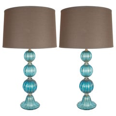 Pair of Modernist Ribbed and Banded Turquoise Table Lamps with 24kt Gold Flecks
