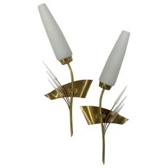 Pair of Modernist Sconces by Maison Arlus in Brass and Opaline Glass, France
