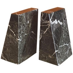 Pair of Modernist Solid Marble Bookends Memphis Era