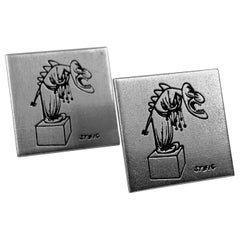 Pair of Modernist Square Cufflinks Marked Steig