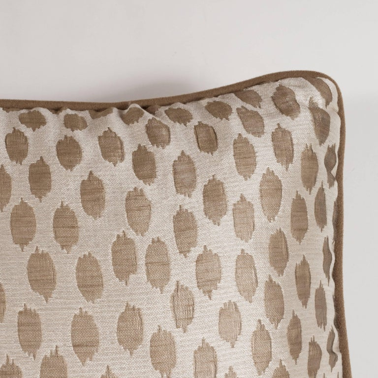American Pair of Modernist Square Pillows in Ecru and Muted Gold Tones with Piping Detail For Sale