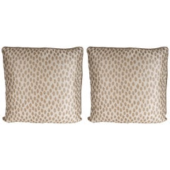 Pair of Modernist Square Pillows in Ecru and Muted Gold Tones with Piping Detail