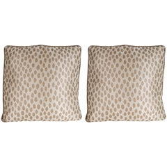 Pair of Modernist Square Pillows in Ecru & Muted Gold Tones with Piping Details