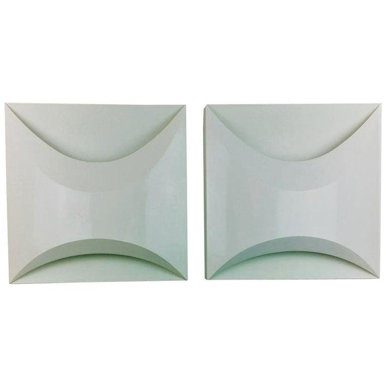 Pair of Modernist Square RAAK Amsterdam White Sconces / Flushmount Lighting For Sale