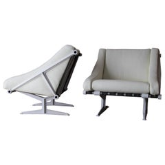 Pair of Modernist Steel and Leather Cantilevered Strap Lounge Chairs